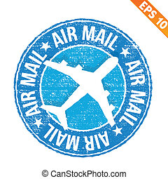 Stamp sticker Air mail collection - Vector illustration -...