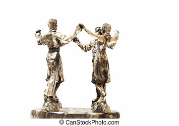 people dancing Sardana statue on a white background
