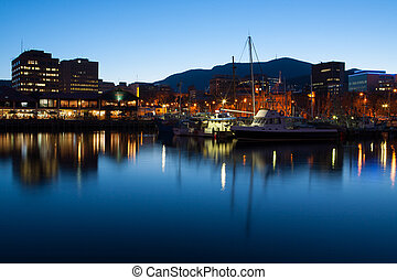Hobart Dock at Dusk - View towards Mt Wellington over the...