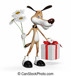 Illustration a dog with flowers and a gift.