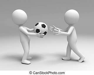 a football to the other - A 3d people brought a football to...