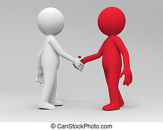 shaking hands - Two 3d people are shaking hands