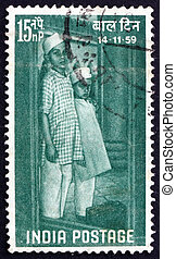 Postage stamp India 1959 Children Arriving at Institution -...