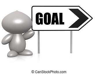 Figure with goal sign board