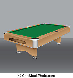 Pool table with a green cloth. Vector illustration.