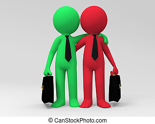 Business Partners - Two businessmen shoulder to shoulder