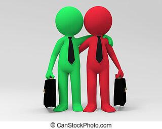 Business Partners - Two businessmen shoulder to shoulder