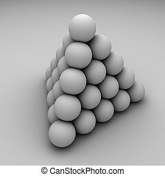Pyramid - Abstract grey balls pyramid illustration.
