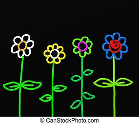 stick flowers - Abstract stick flowers painted with thick...