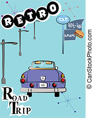 retro road trip - road trip depicted in the fifties style