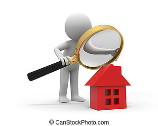 check a house - A person with a magnifying glass to check a...