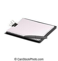 clipboard with a pen