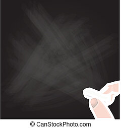 Hand writing on a blackboard. Vect - Blank chalkboard, Hand...