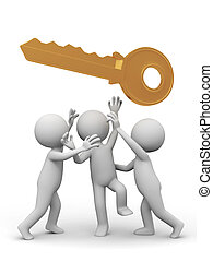 key - Three people are fighting for a key