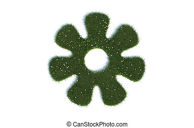 Green Flower Series Symbols out of realistic Grass