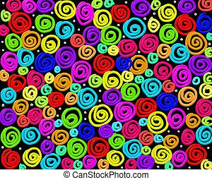 crazy swirls - Abstract crazy swirly multi coloured...