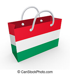 Packet with flag of Hungary.Isolated on white.3d rendered.