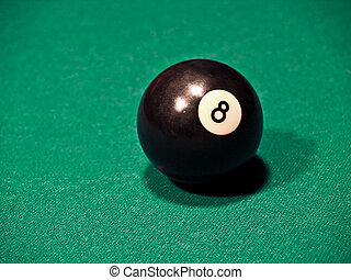 Eight Ball - The eight ball on a green felt background.