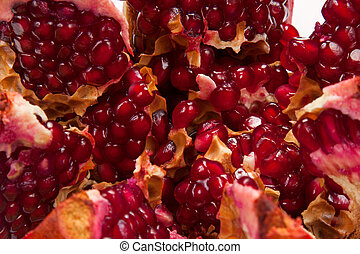 Pomegranate close-up - juicy pomegranate close-up as...
