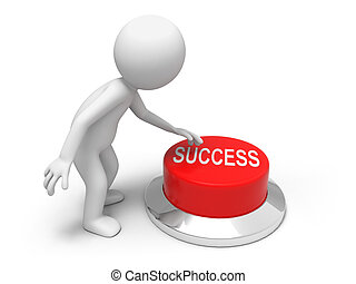 For success - A man is pushing the button