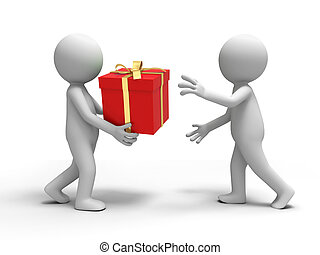 gift box - A person is put a gift box to another