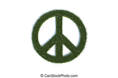 Green Peace Sign Series Symbols out of realistic Grass