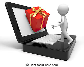 gift box from computer - a people to receive a gift from the...