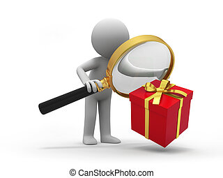 gift box - a people is looking at the gift with a magnifier