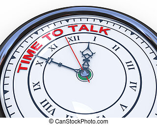 3d clock - time to talk - 3d illustration of closeup of...
