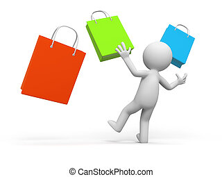 shopping - a people is looking at some shopping bags in...