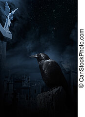 Cemetery - Photo composition with crow, cemetery at night...