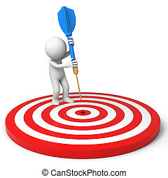 Darts and target - a people is standing on the dartboard...