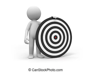 Darts and target - a people is standing with a dartboard