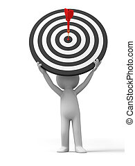 Darts and target - a people is holding a dartboard