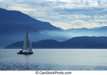 Sailing on lake Zug - Sailing on Lake Zug in Switzerland...