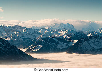 Swiss mountains in winter - View of swiss mountains above...