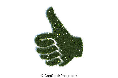 Thumb Up Series Symbols out of realistic Grass