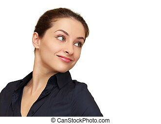Smiling business woman looking on empty copy space isolated...