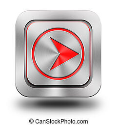 Arrow forward aluminum glossy icon, button, sign