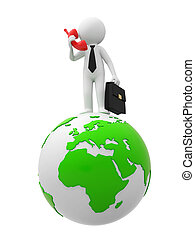 Contact by phone - A businessman speak by phone on the earth...