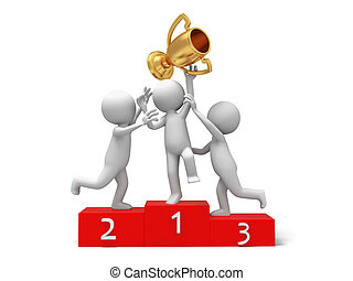 Trophy,cup - Three people fighting for a gold cup on a...