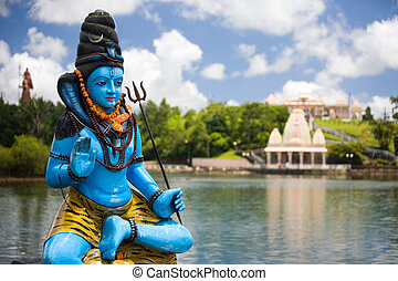 Lord Shiva - Shiva statue and Hindu temple at Grand Bassin...