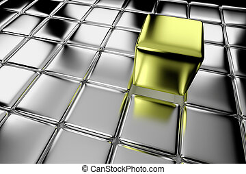 Different gold cube standing out in crowd