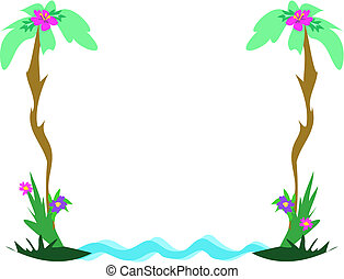 Frame of Tropical Theme Vector - This cute partial frame...