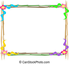 Wooden Frame with Flowers Vector