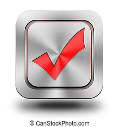 Validation, checked box aluminum glossy icon, button, sign