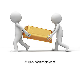 gold brick - Gold,money,Two people carrying a gold brick