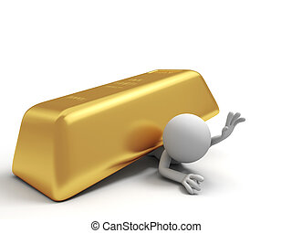 gold brick - Gold,money,A people pinned down by a big gold...