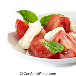 plate of tomato and mozzarella salad