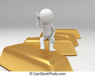 gold brick - Gold,money,a people sitting on a gold brick